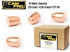 45 ACP: 500 Stück .45 ACP Match Geschosse 230 Grain 14,9 Gramm, FCP RN, Kaliber 45 CamPro K67
