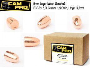 9mm: 500 Stück 9mm Luger 124 Grain, 8,04 Gramm FCP RN Match Geschosse von CamPro.