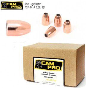 9mm: 500 Stück 9mm Luger 124 Grain, 8,04 Gramm Hohlspitz FCP RN Match Geschosse von CamPro.