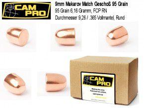 9mm Makarow: 500 Stück Campro 9mm Makarov Makarow Matchgeschosse 95 Grain, RN FCP