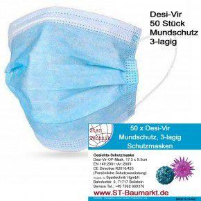 """50 x Mundschutz, 3-lagige Nasen-Mund Schutzmasken, Kategorie: sogenannte """"medizinische Maske"""""""