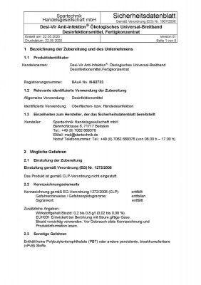 Desi-Vir Anti-Infektion®: Universal-Breitband Desinfektionsmittel Fertigkonzentrat - Schutz gegen Viren, 5 Liter