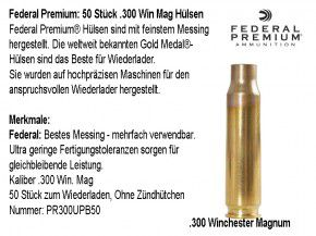 Federal Premium : 50 Stück .300 Win MAG / .300 Winchester Magnum Hülsen, unprimed
