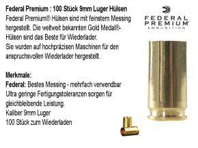 Federal Premium : 100 Stück 9mm Luger Hülsen, unprimed