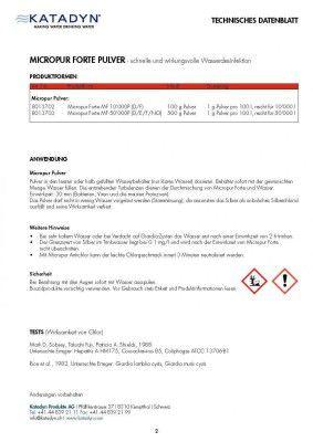 Katadyn Micropur Forte desinfiziert Wasser tötet Bakterien & Viren 100g 10000 L