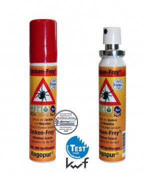 Hagopur 1 x Zecken Frei Spray - Zecken-Frey Spray hilft gegen Zecken, Stechmücken, Bremsen & ähnlichen Insekten, 25 mL Pumpflasche Vorbeugung von Zeckenbiss Rücksack für Camping Outdoor Freizeit