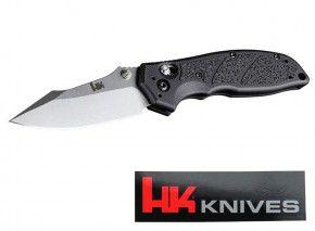 H&K: Taktisches Messer von Heckler & Koch gefertigt von Hogue Exemplar Stonewash Plain mit HK Emblem, Sticker, Waffenöl, Neoprencase, Pivot Lock, Klinge 154CM 8,3cm,  Griff G10 im Pistolen Design
