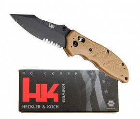 Hogue Messer von Heckler & Koch  01HG112-Dark Earth Mit HK Emblem
