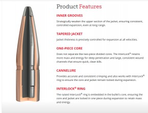 6,5mm .264 Hornady InterLock SpirePoint Geschosse 129 Grains  8,4 Gramm, 100 Stück, #2620 L62