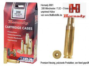Hornady: 50 Hülsen Kaliber .308 WIN Match .308 Winchester / 7,62 × 51 mm NATO Match Hülsen, unprimed