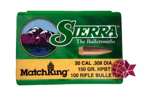 Sierra Matchking 30 Cal .308 Diameter 150 Grain 7,62 × 51 mm NATO Hollow Point HP Boattail BT L25
