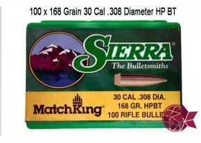 Sierra Matchking 30 Cal .308 Diameter 168 Grain 7,62 × 51 mm NATO Hollow Point HP Boattail BT L26