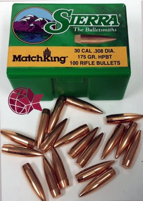Sierra Matchking 30 Cal .308 Diameter 175 Grain 7,62 × 51 mm NATO Hollow Point HP Boattail BT L27