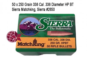 .338 Sierra Matchking 50 x 250 Grain 338 Cal .338 Diameter HP BT, Sierra #2650 L38