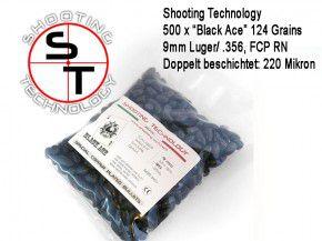 500 Stück Black Ace 500 x 9mm Luger schwarze Geschosse 124 Grain / 8.04 Gramm