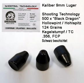 500 Stück Black Dragon Hohlspitzgeschoss 9mm Luger schwarze Geschosse 124 Grain / 8.04 Gramm