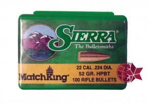Sierra Matchking 52 Grain Kaliber .223 / .22 .224 Hollow Point HP Boattail BT Vollmantel