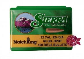 Sierra Matchking 69 Grain Kaliber .223 .22 .224 Hollow Point HP Boattail BT 5,56 x 45mm L57