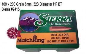 8x57: 100 Stück 200 Grain 8 x 57 Mauser 8mm .323 Diameter HP BT Sierra #2415 L81