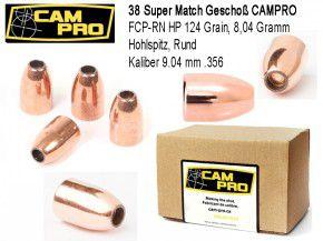 .38 Super: 500 Geschosse 38 Super CAMPRO .38 FCP RN HP 124 Grain 8,04 Gramm Hohlspitz Cal 9.04 mm Länge 14,5 mm