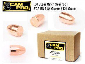 .38 Super: 500 Stück Geschosse .38 Super 121 Grain 7,84 Gramm RN FCP CamPro Vollmantel rund .356 9,04 38 Super